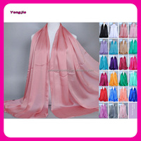 Multi Color Hot-selling Large Long Solid Color Women Muslim Hijab Cape Wrap Headscarf 100% Feeling Silk Scarf Wholesale