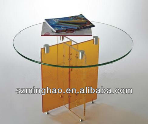 Handmade Round table top Acrylic furniture / colorful acrylic table