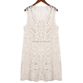 Wholesale creme chiffon hollow-out ladies dresses sleeveless
