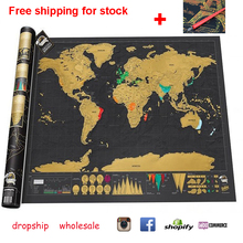 Free shipping Travel World Map Scratch Off Foil Layer Coating Poster Journal Scratch Map