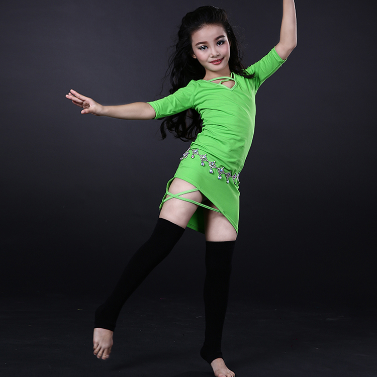 Wuchieal Kids Cotton Belly Dance Dress with Special Design in Collar and Dress Bottom