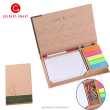Custom Promotional Foldable Square Cube Kraft Paper Sticky Note Memo Pad Box with Pen holder
