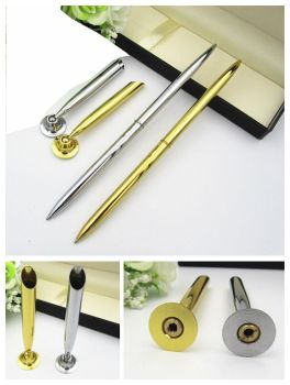 Metal table pen pen holder ball pen for promotional gift have gold and silver color for choose