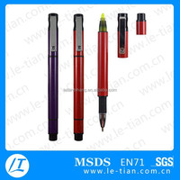 PB-123 High quality ball pen with highlighter, multi colored highlighter pen