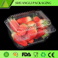 Clear disposable plastic strawberry container