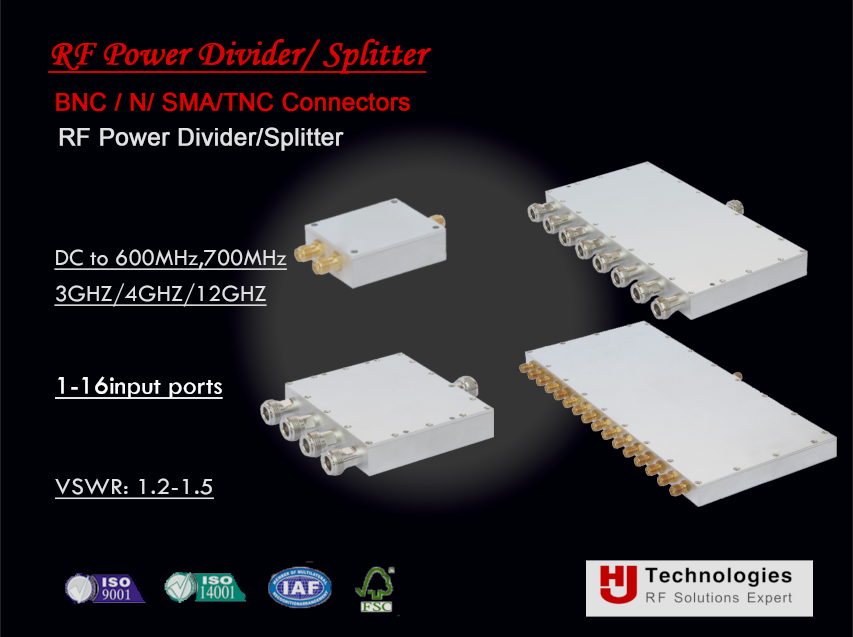 RF Power Splitter Radio frequency 600 MHz, 700 MHz to 3 GHz, 4GHz, 6GHz 2 Way SMA Power Divider 10W