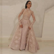 Baby Pink Lace High Neck Long Sleeve Evening Dresses Muslim Prom Dress Vintage Formal Long Gowns for Ladies