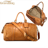 Classic oversized Travel genuine cow leather handbags Tote Luggage Weekend waterproof duffel bag for men