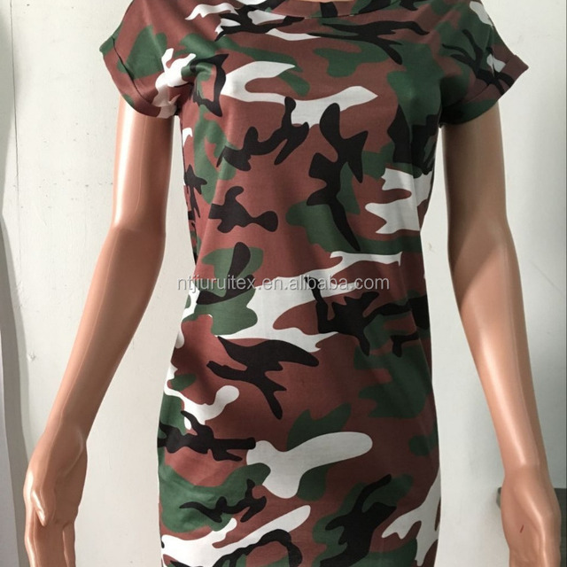 latest women fashion dress ladies camouflage printed t shirt dresses