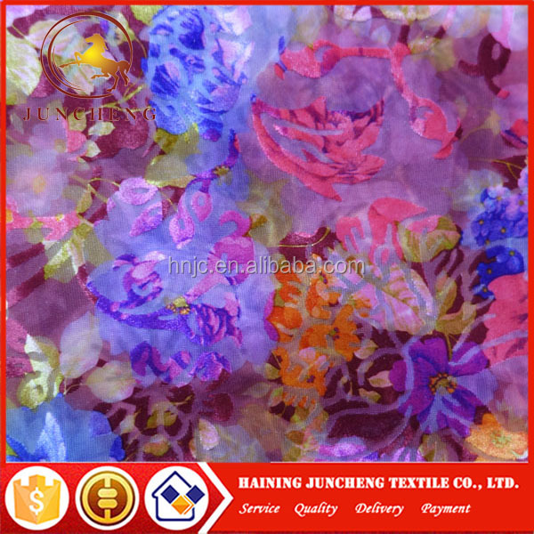 New design colorful printed rose silk velvet fabric for models dress shirt and dresses