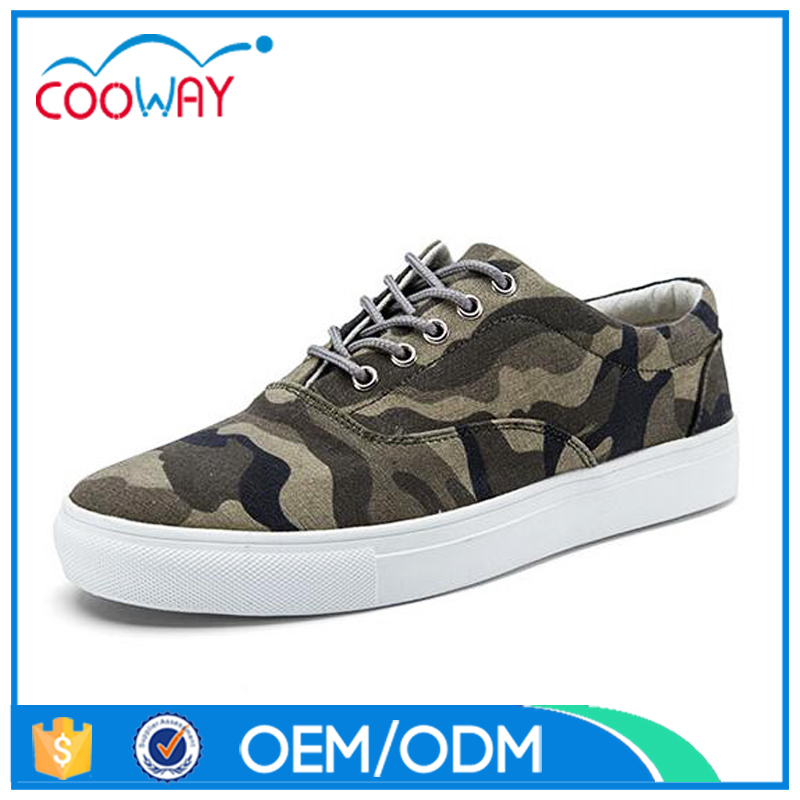 China Wholesale Lace up flat Camouflage Canvas Casual women shoe
