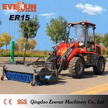 Everun ER15 Mini Wheel Loader Compact loader with wood grapple