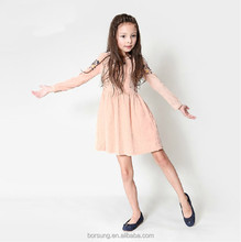High Quality Korea Summer Fashion Pure Cotton Kid Clothes Long Sleeve Casual New Model Girl Dress 2015