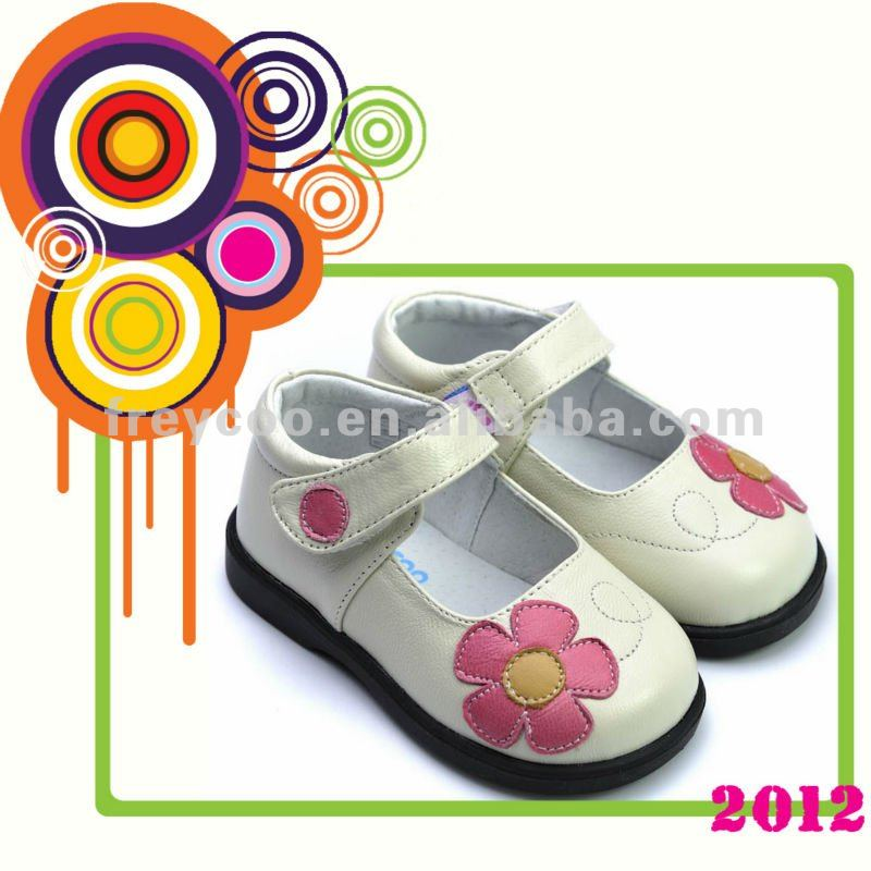 Fancy leather kids shoes for girls 2012 NEW PB-8002WH