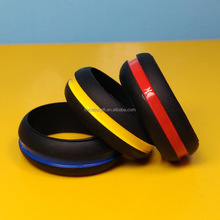Hotsale line silicone wedding rings, 2 tone vape silicone rubber thumb ring, 10 sizes available silicone rings