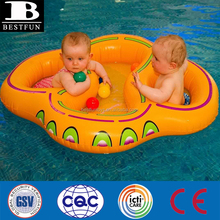 Brand New Customized Twin Double baby inflatable swim float seat infant swimming ring pool toy