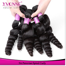2015 New arrival human hair spiral curl virgin peruvian hair