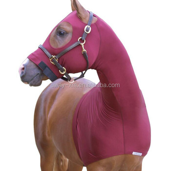 Solid Color Lycra Material Horse Hood With Magic Tape