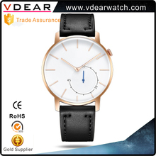 Watch manufacturer custom high quality luxury curve glass two hand men watch with tan leather strap