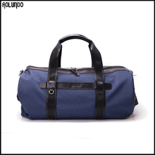 Top quality custom made nylon travel duffel bag with leather