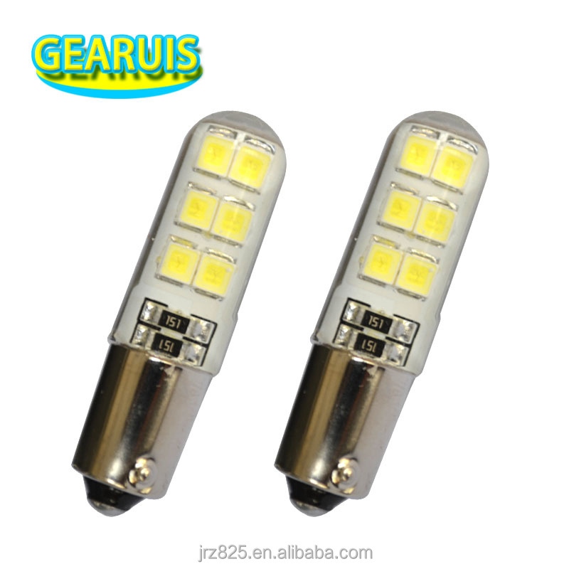 Car styling BA9S Silicone led 12 smd 2835 1W T4W Car LED Lights Interior light Auto Lamp Licence plate lights cool white