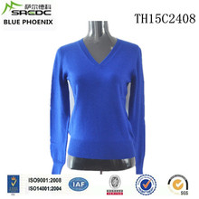 BLUE PHOENIX v-neck long sleeve plain knitted blue cashmere branded pullover sweater