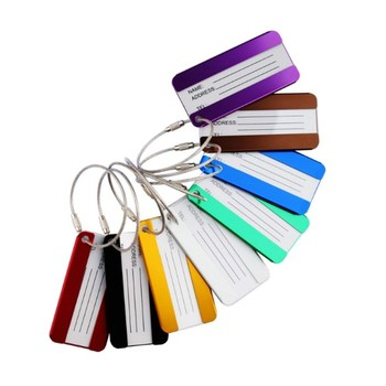 Promo custom logo aluminum metal luggage tag strap
