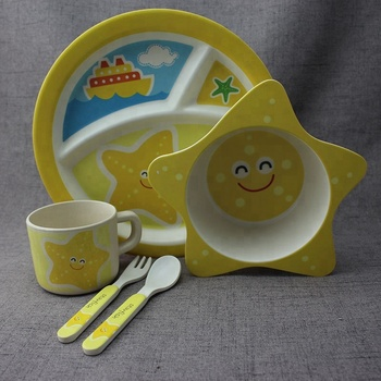 Children 5pcs Tableware Set Kids Bamboo Fiber Meal Plate Baby Eco-Friendly Cartoon Feeding Set