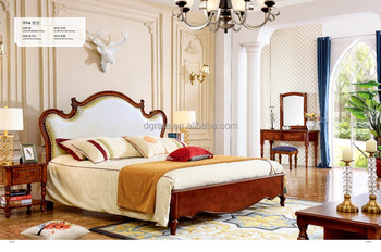 2017 top quality home furniture / carved bed room set / solid wood modern design bedroom set