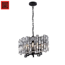 Modern American Warmth decorative black iron K9 crystal chandelier lighting pendant light for bedroom