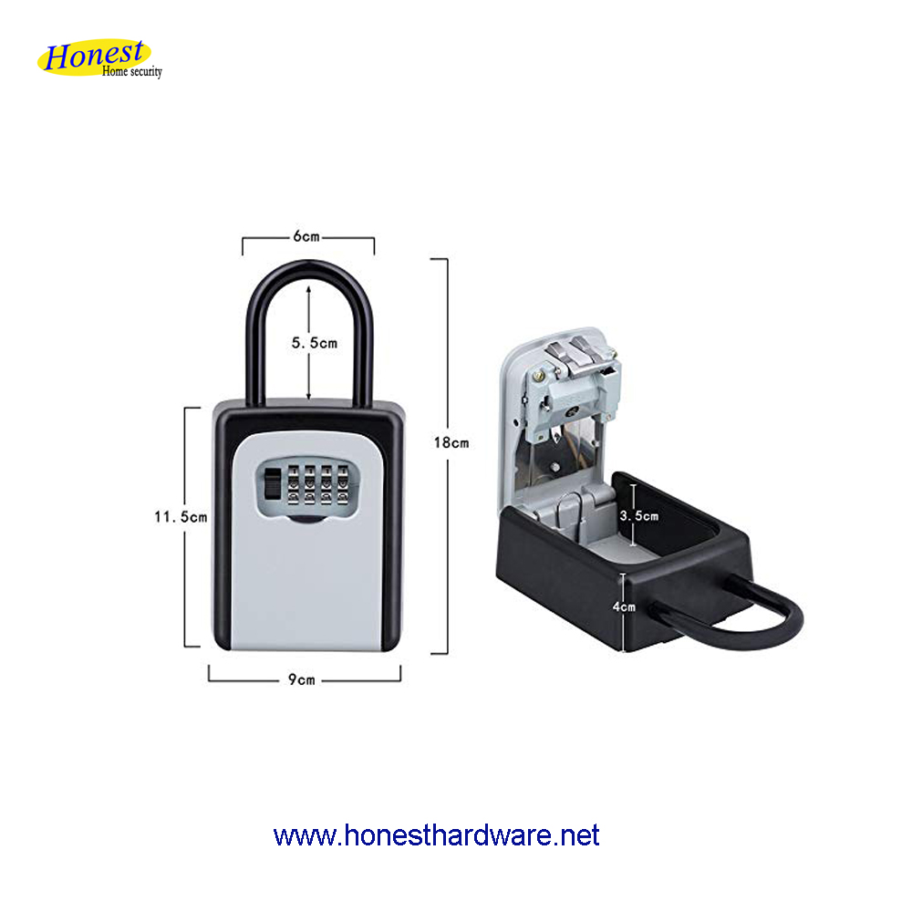 Hot Selling 4 digital Combination high quality metal safety key storage lock box with shackle