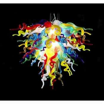 AC 110V 220V Colorful Blown Murano Glass Modern LED Chihuly Art Chandelier for Home Decor