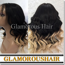 blonde ombre wig color 613 sulk base top full lace wig grade 10A hair