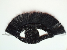 New arrival elegant eye shape iron patch with nylon fringe eyelash