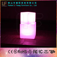 Foshan China Modern Romantic Design Remote Control Simple And Portable LED Cube Magic Furniture Light Up Square LED Cube Chair