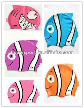 Silicone cartoon kids swimming caps