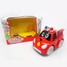 Cartoon Toy Car Battery Operated Fire Truck For Children