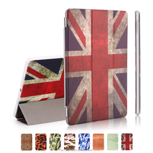 Best Selling Luxury Ultra Slim Stand Smart Sleep and Wake Up PU Leopard Camouflage Wood UK Flag Design Cover Case for iPad Air