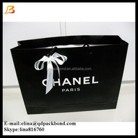 Customized custom printed glossy black paper shopping bag