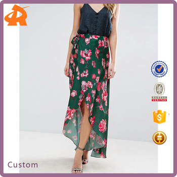 custom make your own ladies skirt long,chiffon floral skirt manufacturer in china
