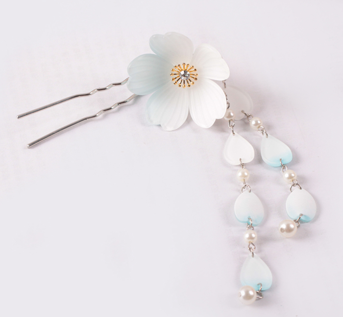 acrylic acetate flower pearl hair fork with alloy metal hair ornaments accessories manufacturers