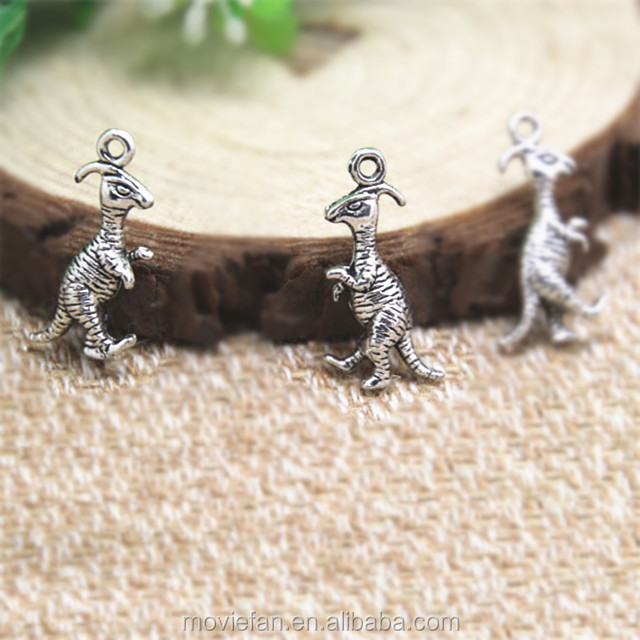 VelociRaptor Charms Antiqued Silver Tone dinosaur charm pendants 23x11mm