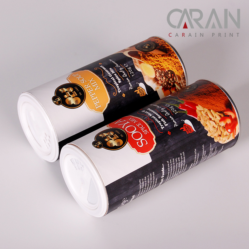 Plastic Cover Cardboard Coated Black Paper Tube for Cooking Flour