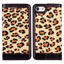 Samll MOQ Premium Classic Leopard pattern Leather Case for iPhone 7
