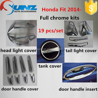 New ABS plastic chrome accessory for HONDA FIT 2014-full chrome kits decorative accessories with fuel tank cover
