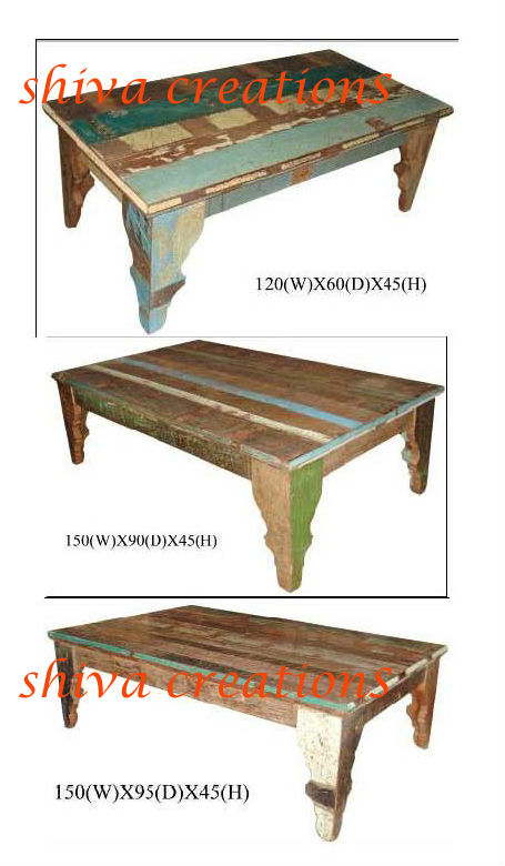 Colourful wood coffee table