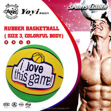 size 3 rubber basketball, new customized design, colorful body