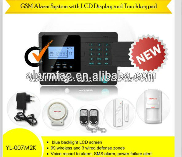 three years warranty! low cost wireless gsm sms alarm system with LCD display and free door sensors