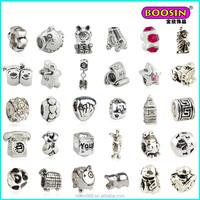 2015 new design fashion custom any shape silver diy slide cute landing charms beads wholesale for bracelet making