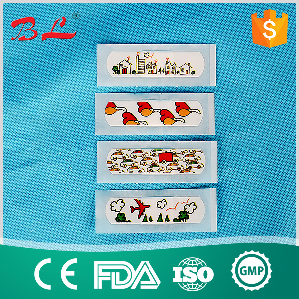 OEM cartoon adhesive bandage/printed band aid/round and long wound plaster